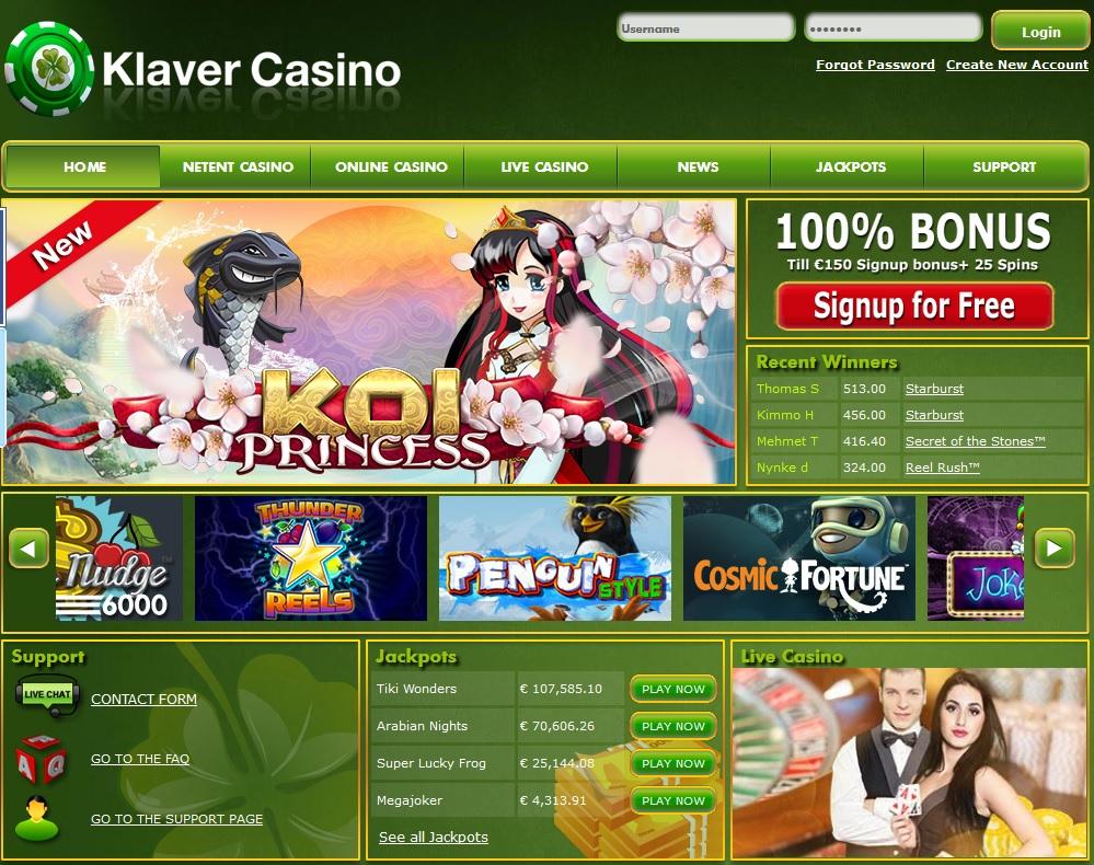 Klaver Casino weekend bonus