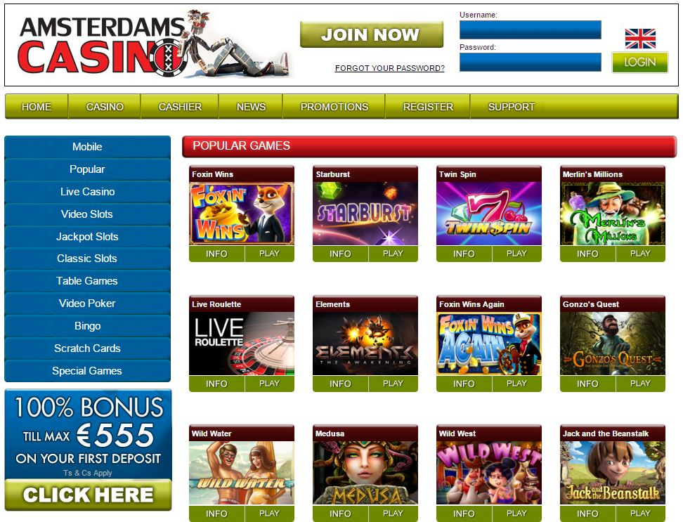Screenshot Amsterdams casino