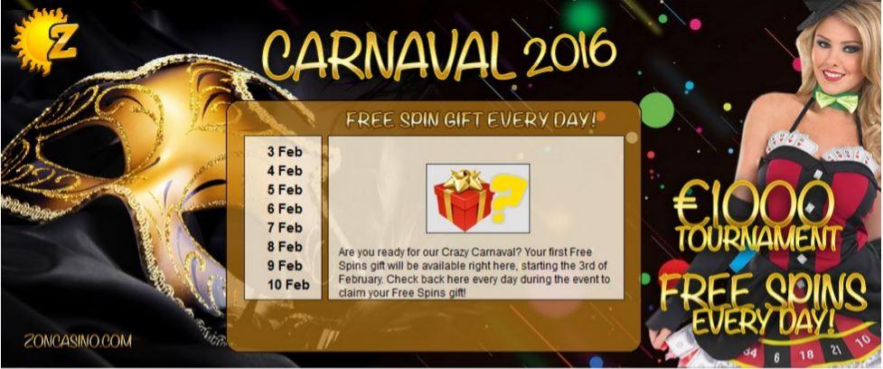 Carnaval bonus Zon Casino gaat door!
