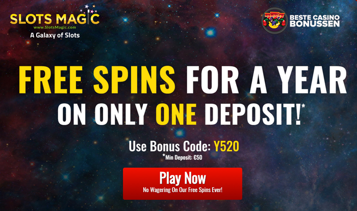 Free Spins for a year bij Slotsmagic