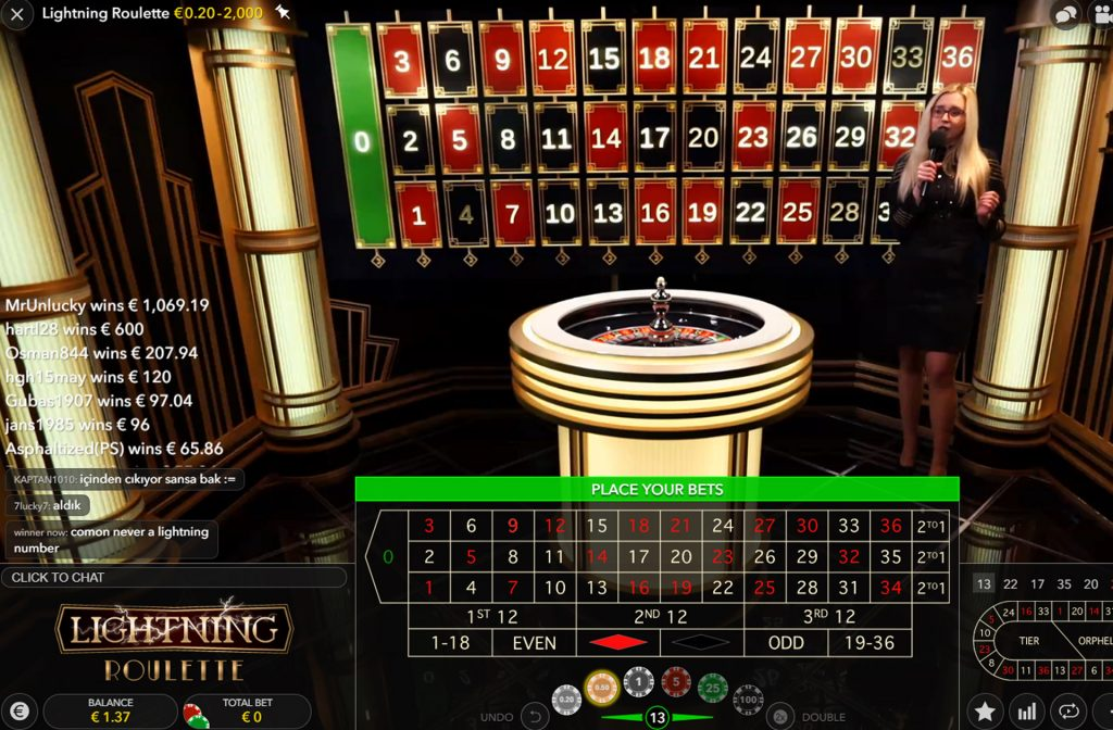 Lightning Roulette in het live casino