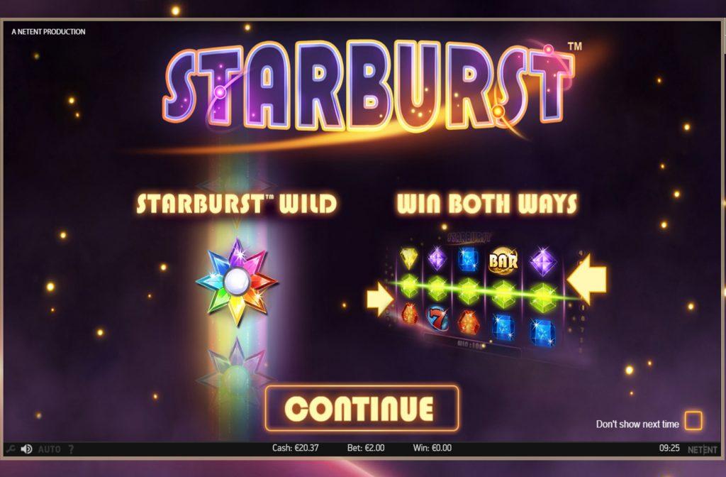 Beginscherm Starburst