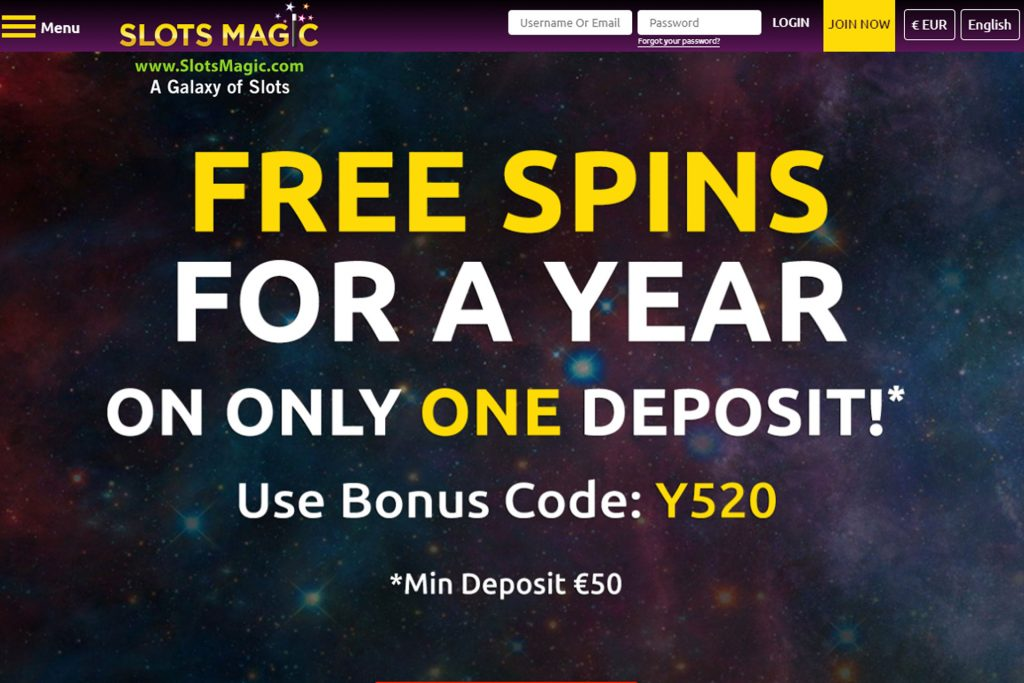 Free-Spins for a year bij Slotsmagic