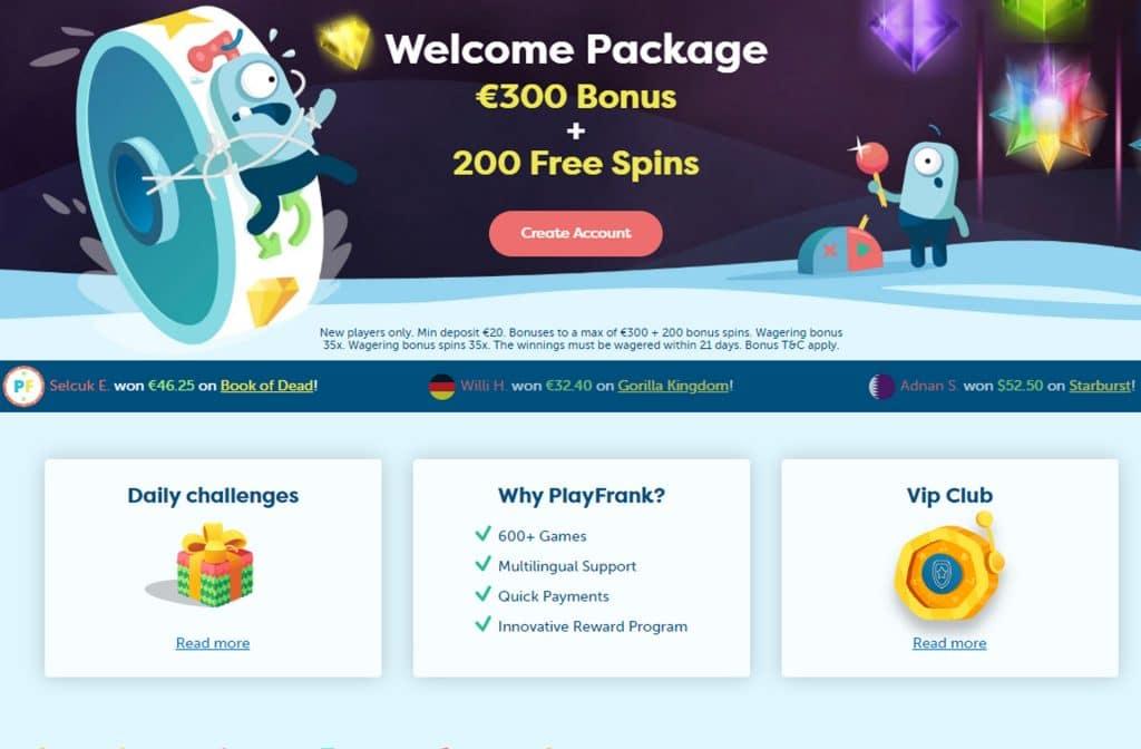 PlayFrank Welkomstbonus