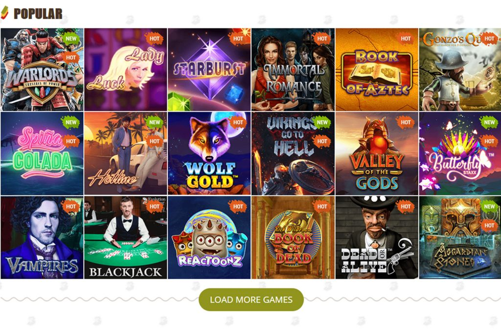 Populaire spellen van Bob Casino