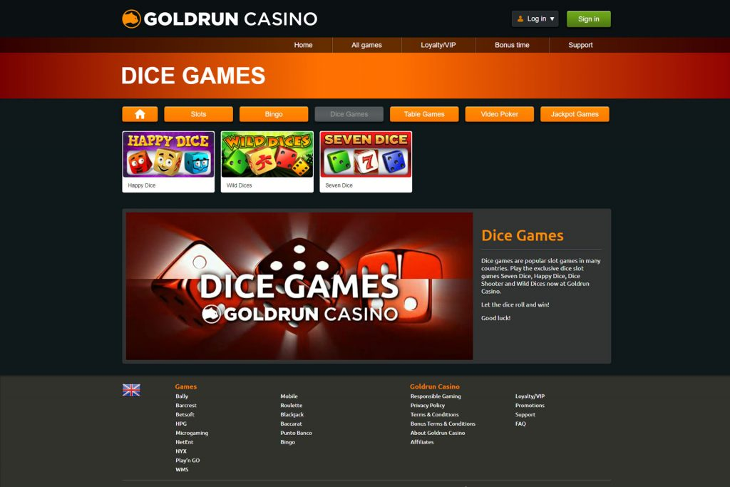 goldrun dice games