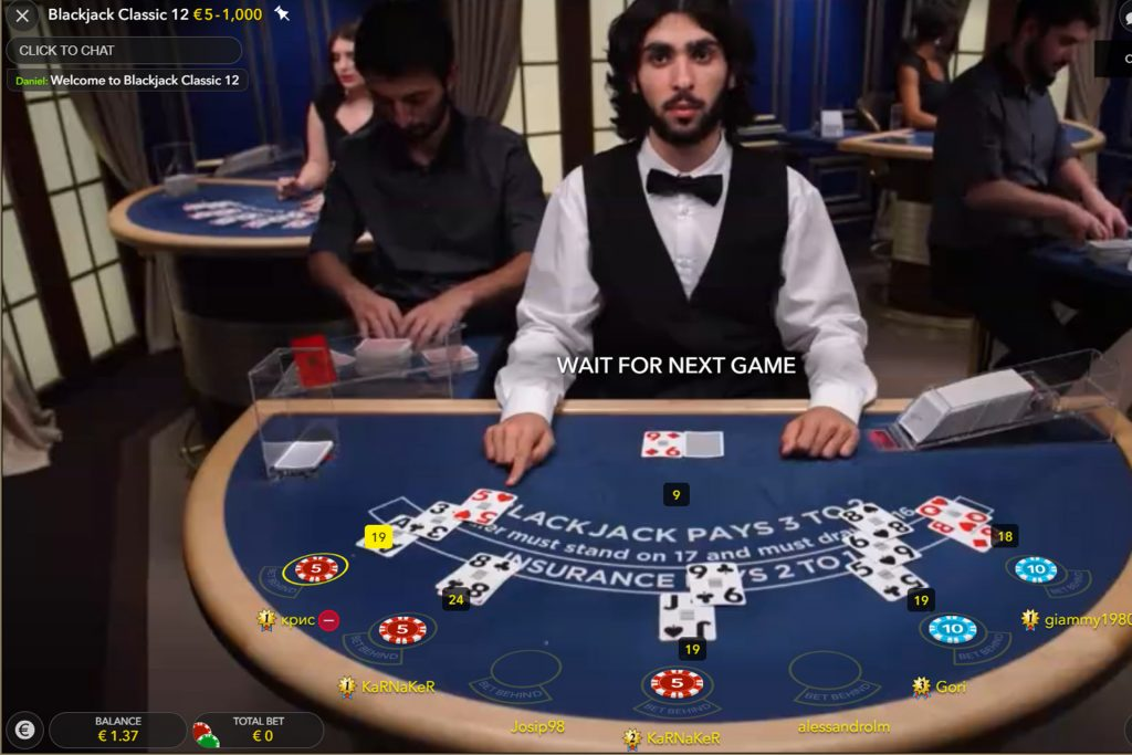 Classic Blackjack in een live casino