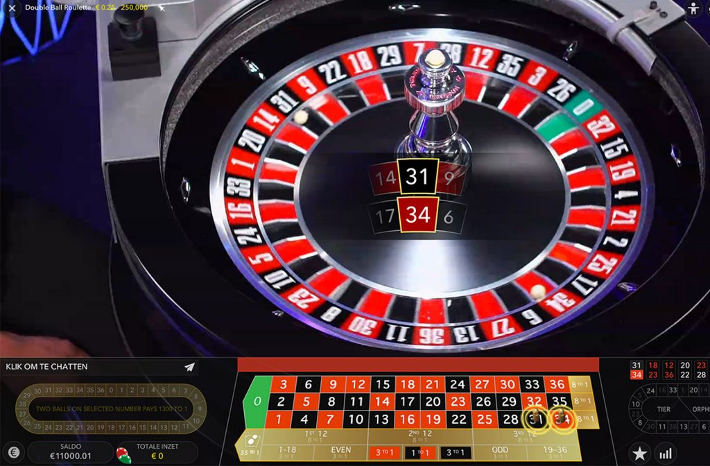 Double Ball roulette in actie