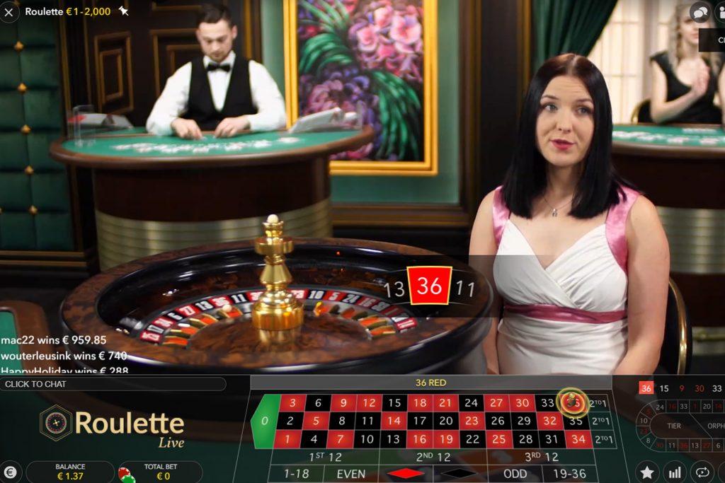 Roulette in het live casino
