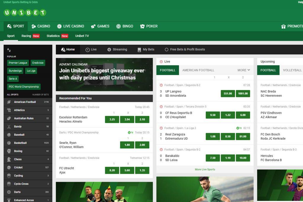 Zo ziet een website voor het wedden op voetbal er uit