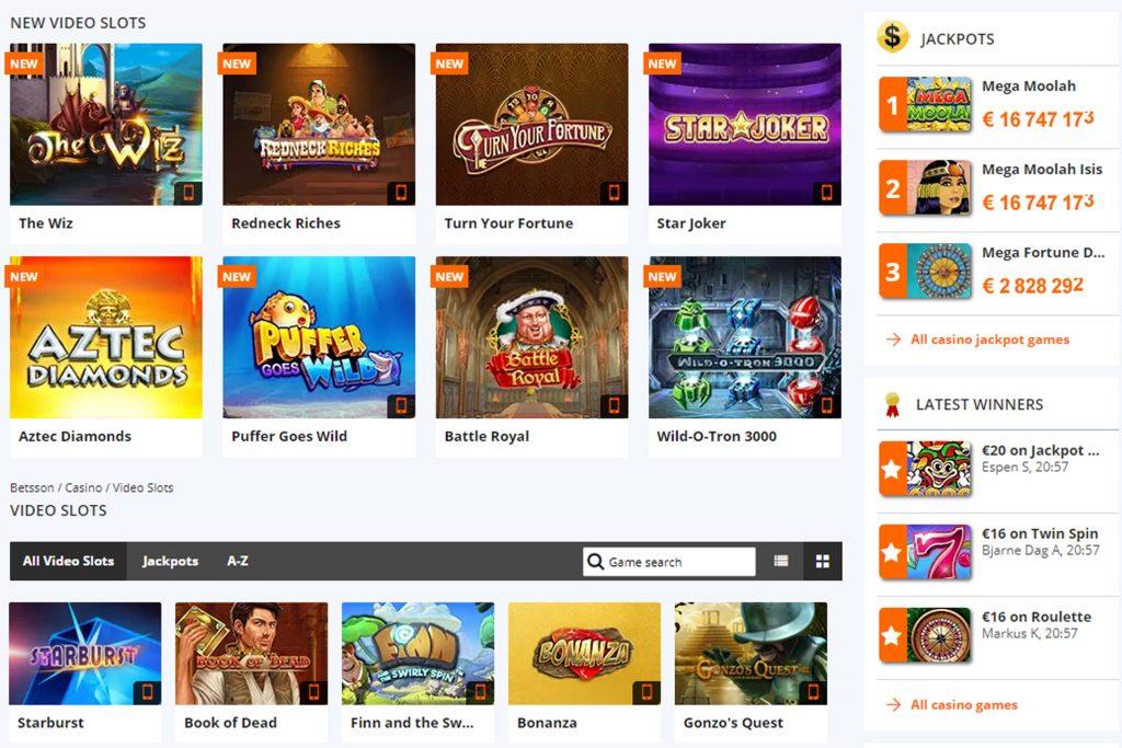 Videoslots bij een online casino