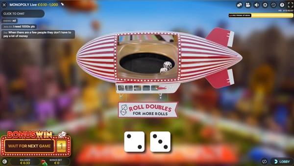 Dobelstenen rollen bij Monopoly Live