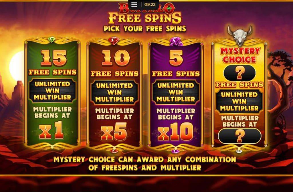 Het keuze menu bij Free Spins