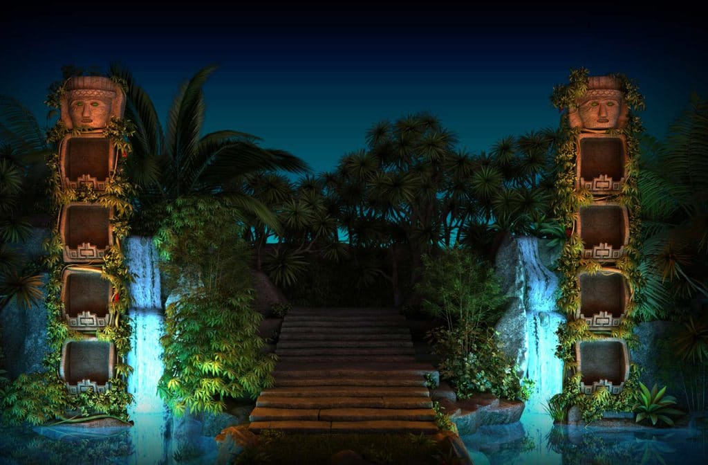 De trappen van de tempel bij Temple Quest Spinfinity