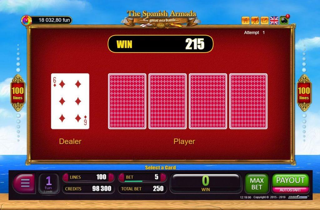Je kunt de gewonnen prijzen gokken bij The Spanish Armada
