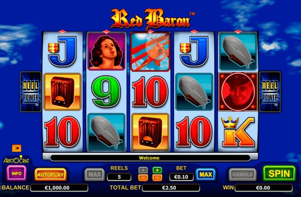 Red Baron heeft 5 rollen en 243 winlijnen