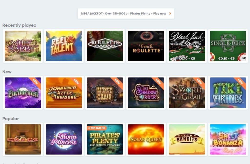De spellen lobby van Speedy Casino