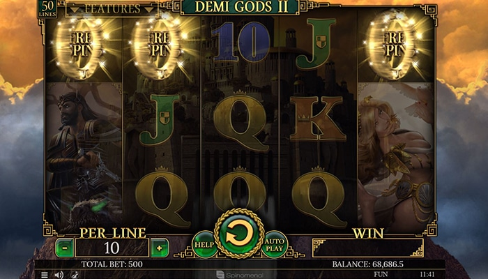 Free spins bij Demi Gods 2