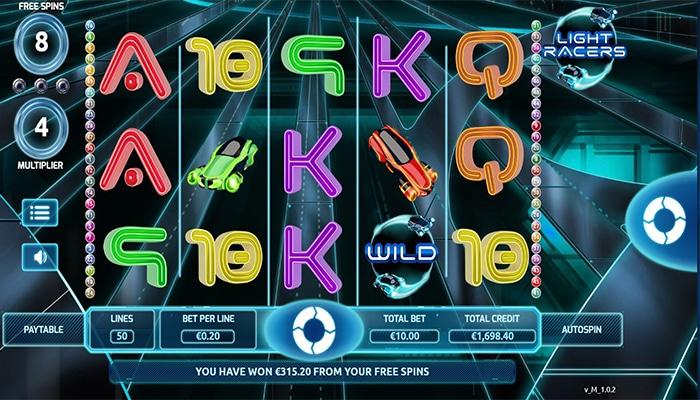 Free Spins bij Light Racers leveren geld op