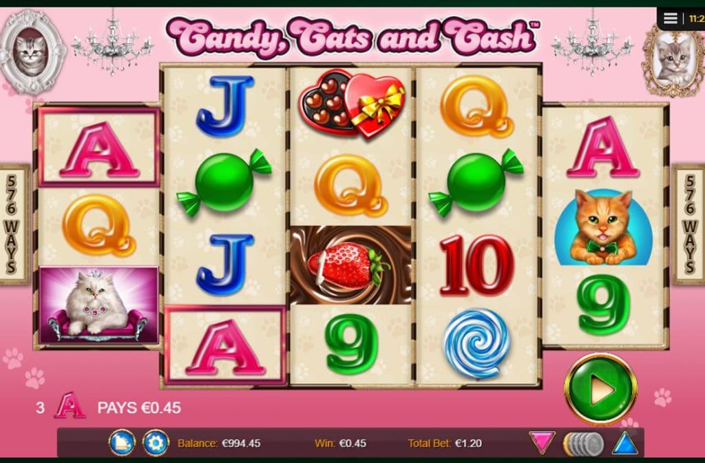 De snoepjes geven de laagste uitbetalingen bij Candy, Cats and Cash