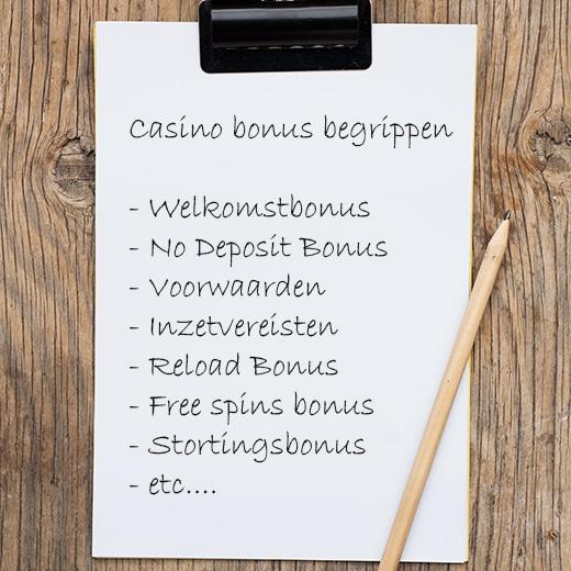Casino Bonus begrippenlijstje