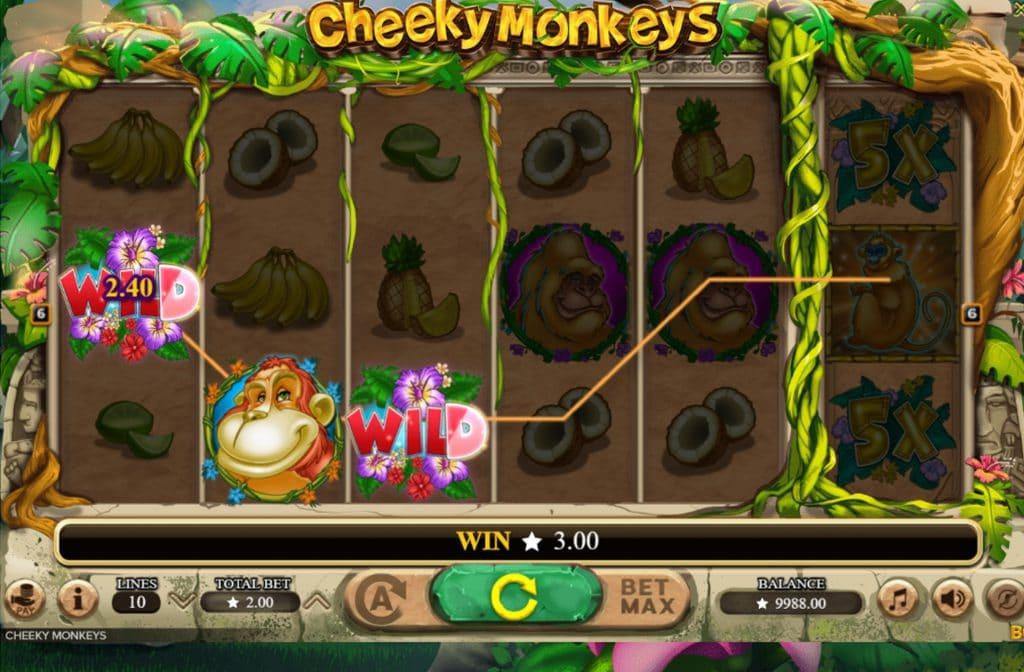 De Wild in Cheeky Monkeys kan elk symbool in het missende symbool vervangen