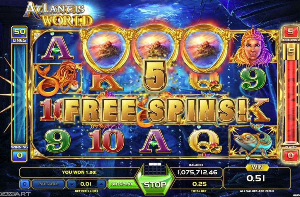 Door de free spins in Atlantis World kun je de rollen gratis laten draaien