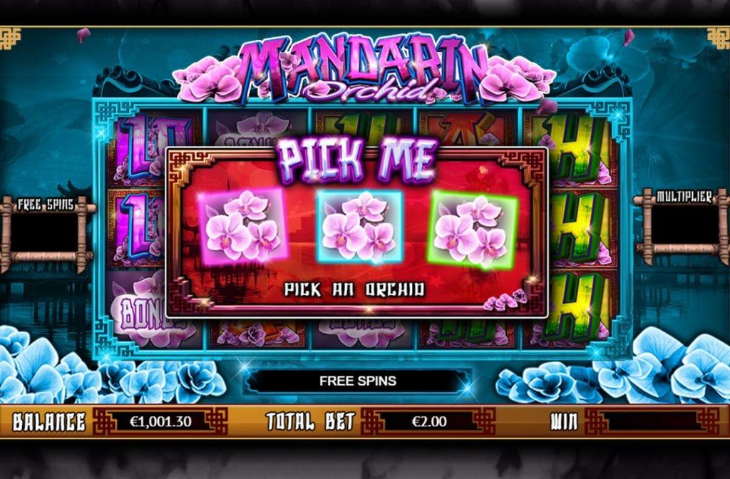 Bij het Pick Me spelletje, kies je 1 van de 3 orchideeën en wordt het aantal free spins onthult