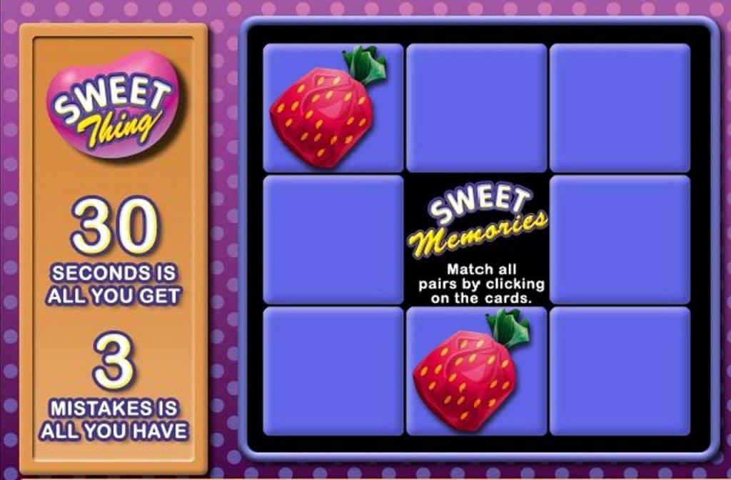 Sweet Thing heeft Memory als bonus spel