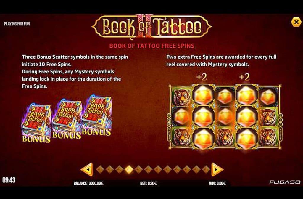 Er is ook een Free Spins Bonus bij Book of Tattoo 2
