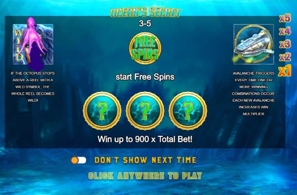 Ocean's Secret bevat een mooie Free Spins Bonus