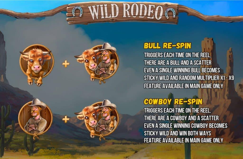 Een mooie bonus binnen Wilde Rodeo is de Bull Re-spin en de Cowboy Re-spin