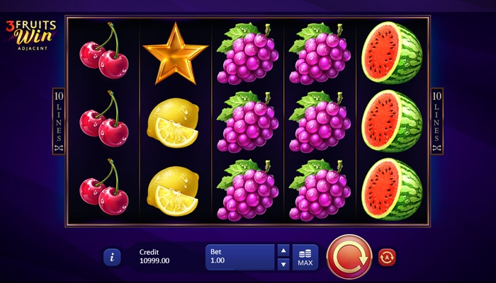 3 Fruits Win 10 lines Gameplay