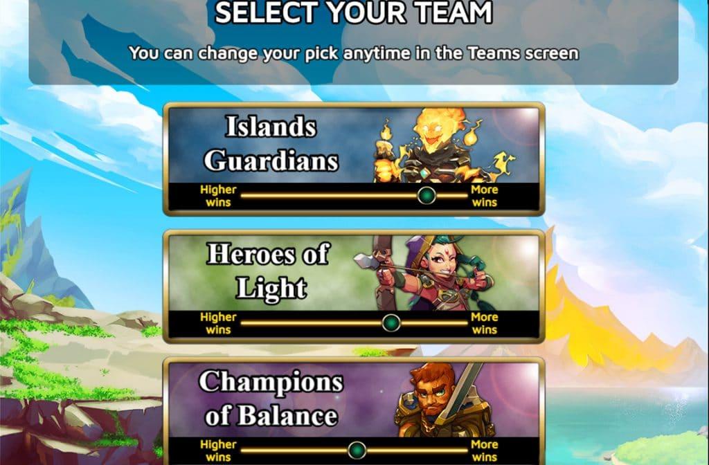 Voordat je Battle Mania start moet je eerst een team kiezen