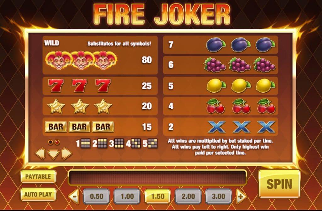In de uitbetalingstabel van Fire Joker zie je wat de symbolen waard zijn