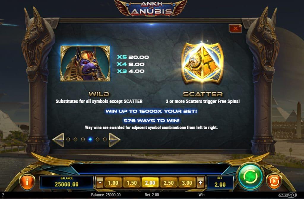 De Wild en Scatter symbolen zijn de bonussen in Ankh of Anubis