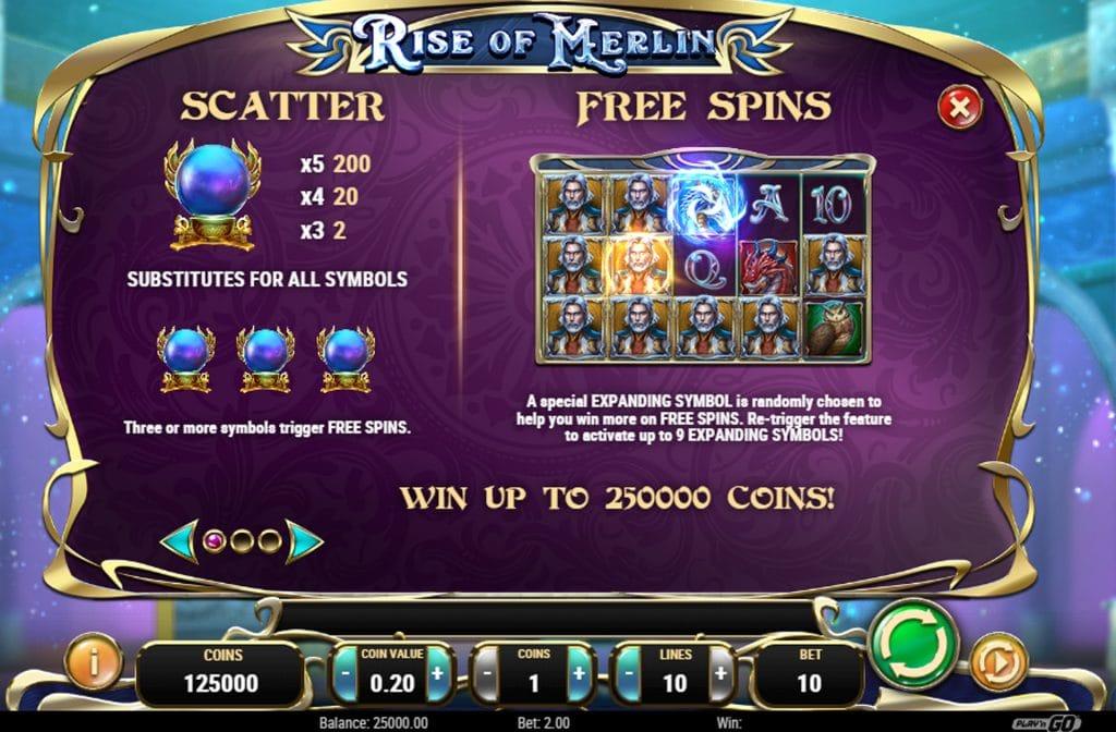 De Scatter en Free Spins zijn de bonussen bij Rise of Merlin