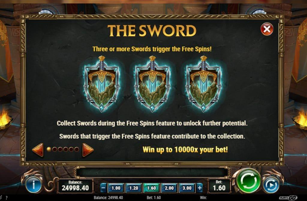 Drie of meer zwaarden zorgen ervoor dat de Free Spins Bonus geactiveerd wordt
