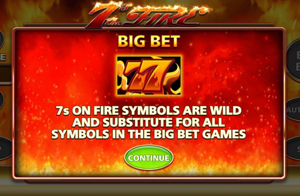 Het Wild symbool herken je aan de 7s die in vuur en vlam staan
