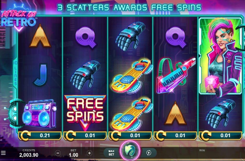 Door de Free Spins symbolen kun je de rollen van de Attack on Retro gokkast extra laten draaien