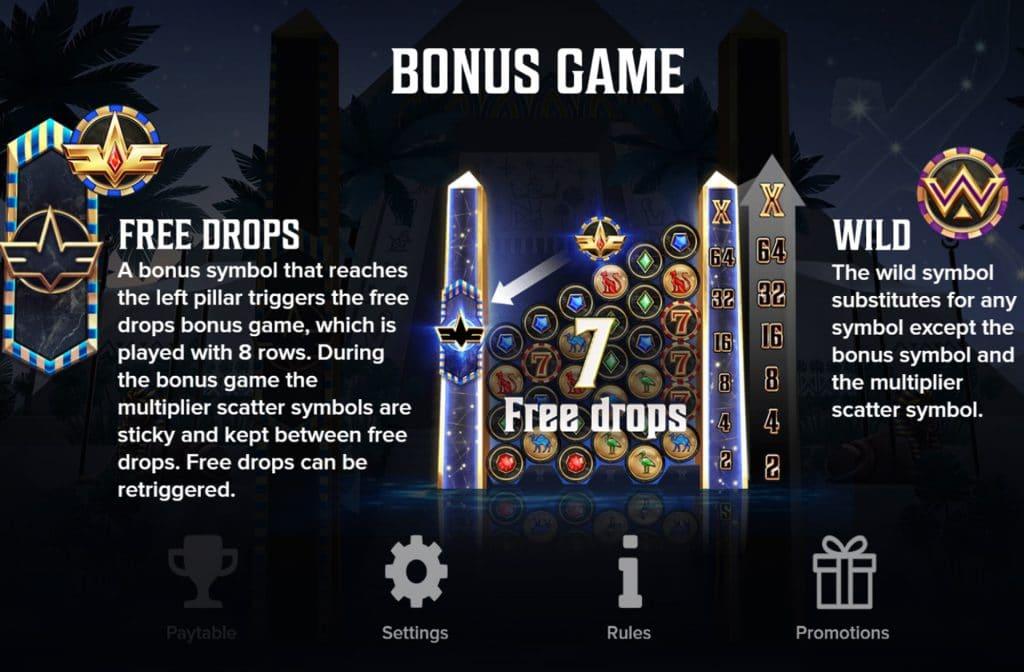 De Free Drops, het Wild symbool en de Vermenigvuldigers zijn de extra functies bij deze gokkast