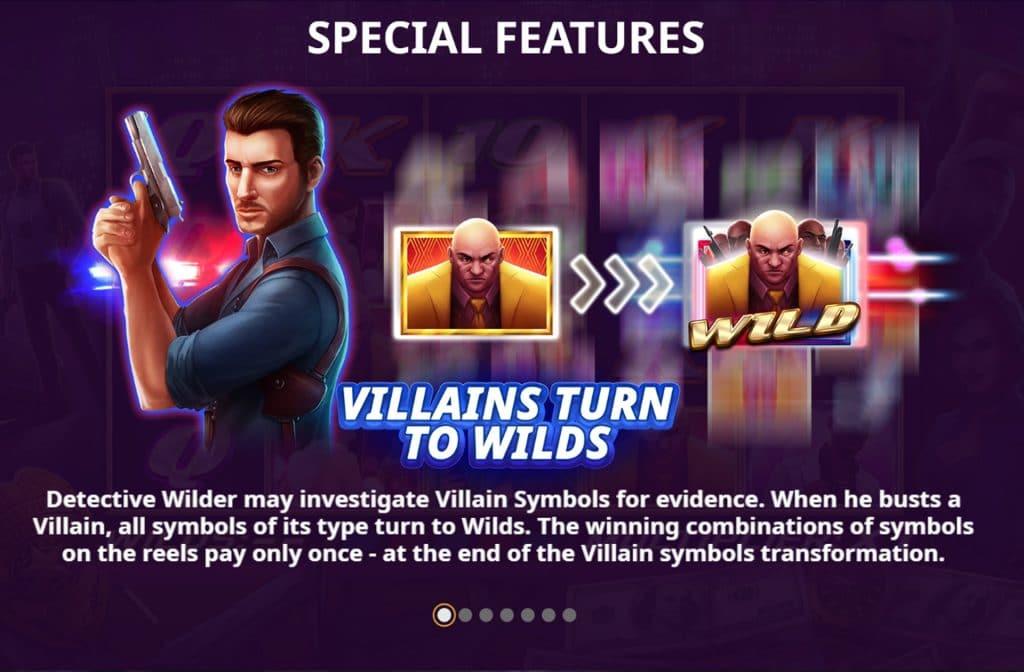 """Het Wild symbool bij Detective Wilder herken je aan de schurk met de tekst """"Wild"""""""