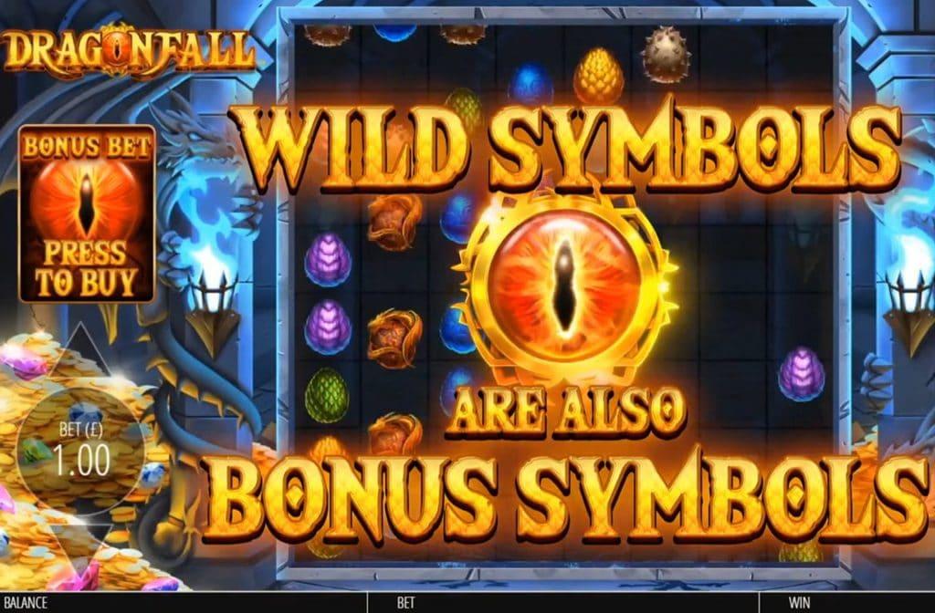 Het drakenoog is het Wild symbool bij Dragon Fall. Ook kan dit drakenoog vermenigvuldigers opleveren.