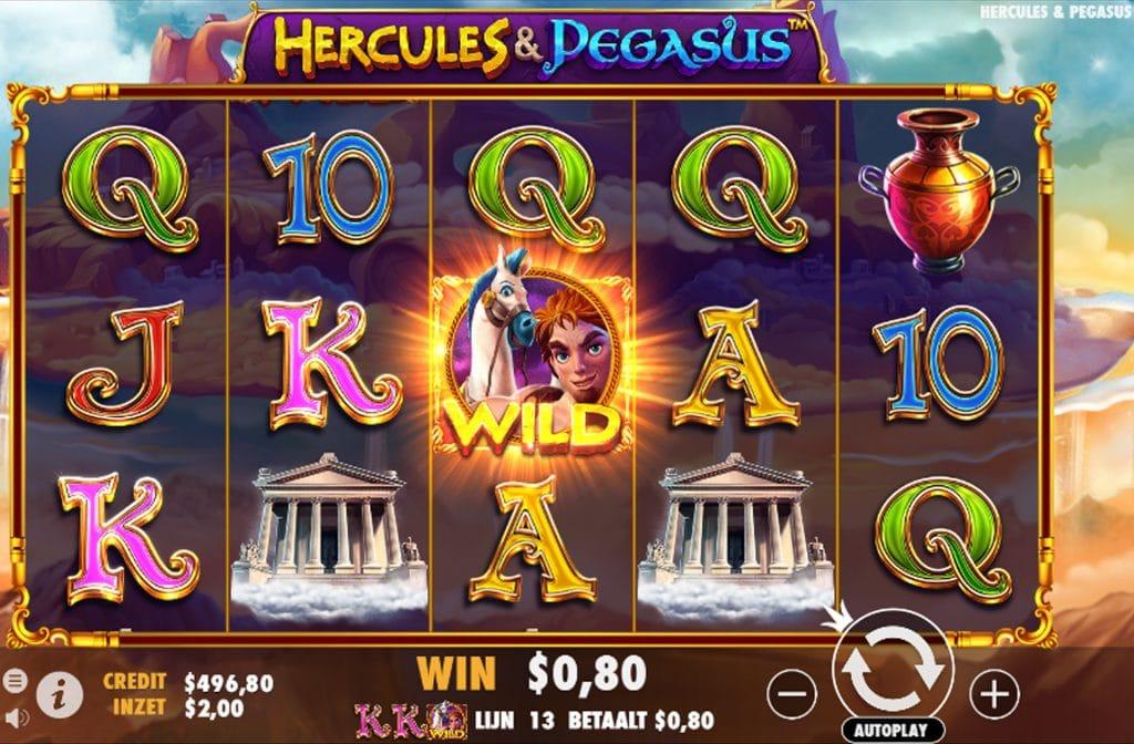 Het symbool waar Hercules en Pegasus op staan is het Wild symbool bij deze gokkast
