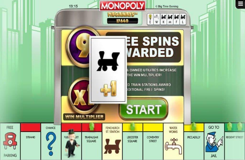 De Free Spins Bonus kan voor extra winst zorgen bij Monopoly Megaways