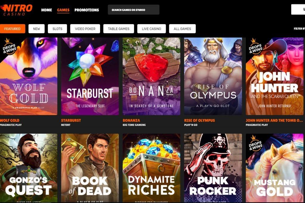 Bij Nitro Casino kun je uit diverse spellen kiezen