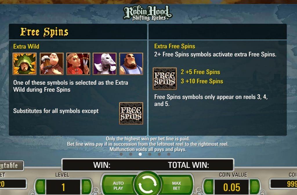 Bij de Robin Hood: Shifting Riches gokkast zorgen de Free Spins symbolen voor extra spanning