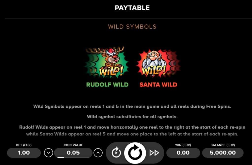 Zowel Rudolf als de kerstman zijn de Wild symbolen bij deze gokkast