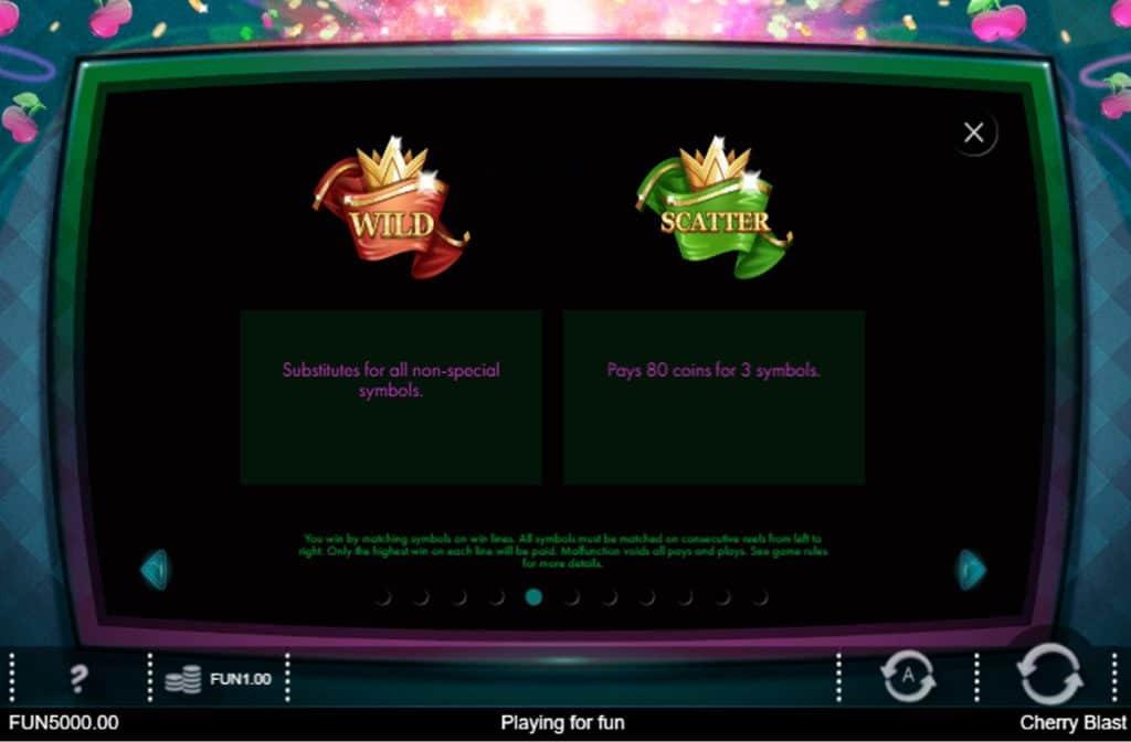 De Wild en Scatter symbolen zorgen bij Cherry Blast voor extra winkansen