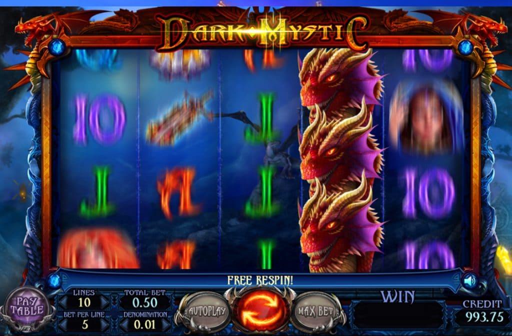De rode draak is het Wild symbool bij Dark Mystic van spelprovider Felix Gaming